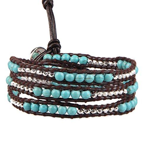 KELITCH Wickeln Armbänder Personalisiert Zum Männer Frau Blau Türkis Mischen Metall Nugget Manschette Leder Armband
