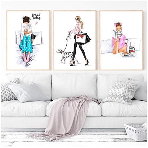 zhaoyangeng affiches en afdrukken van figuren meisjeskamer Vogue voor vrouwen pop-art schilderij op canvas wooncultuur - 50X60Cmx3 niet ingelijst