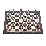 GiftHome - Juego de ajedrez de Metal con Figuras Romanas de Cobre Antiguo para Adultos, Piezas Hechas a Mano y Tablero de ajedrez de Madera con patrón de Nogal, King 2.8 Pulgadas