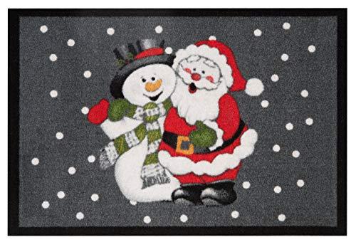 Hanse Home 103048 Paillasson Design Paillasson Santa and Snowman Père Noël Bonhomme de Neige, Polyamide, Gris/Rouge, 40 x 60 x 0,7 cm