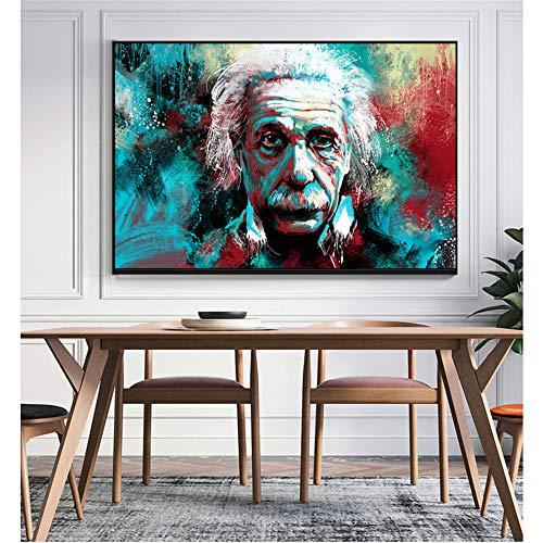 Danjiao Moderne Graffiti Figur Leinwand Malerei Hand Malen Albert Einstein Ölgemälde Poster Wandbild Für Wohnzimmer Wohnkultur Wohnzimmer 60x90cm