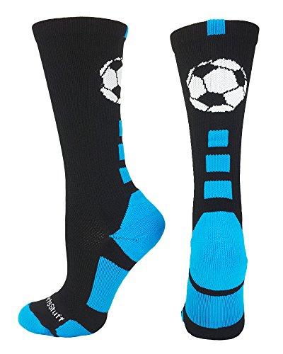 MadSportsStuff Soccer Ball Crew Socks (Black/Electric Blue, Small)