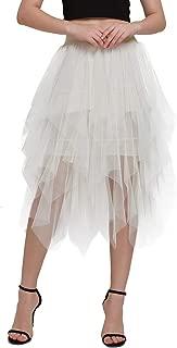 Women's Midi Tutu Skirt High Waist Tulle Mesh Sequins Skirts