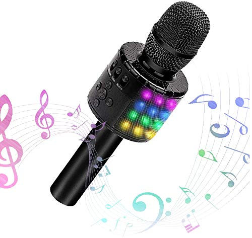 Amazmic Wireless Handheld Karaoke Microphone With Speaker, Built-in 48pcs LED Lights, Portable Bluetooth Karaoke Machine for any Smartphone Pc, Kids Birthday Gift Home Party KTV (Black)