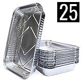 Mamatura 25 XL-Aluminium-Tropfschalen mit Deckeln   25 Aluschalen   32 x 22 cm, 2100 ml   groß, rechteckig, hitzebeständig (25, Aluschalen mit Deckeln)