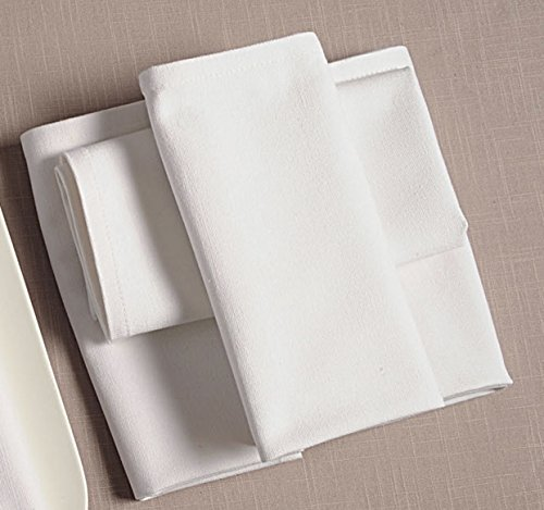Mantel de varias capas para hotel o restaurante, de algodón, esquinas redondeadas, bandas de satén, varios tamaños a elegir, color blanco, tejido, blanco, Servietten Eckig 50x50 cm