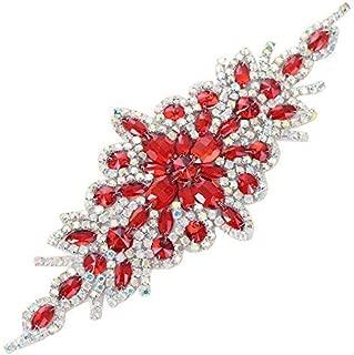 Wedding Belt Applique,XINFANGXIU Stunning Rhinestones Crystal Bridal Sash Beaded Belt Iron on Wedding Embellishments for Bridesmaid Dress