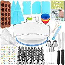 132 Pcs Cake Decorating Supplies kit with Turntable,48 Pcs Numbered Icing Tips and 3 Pcs Russian Piping Nozzles,12 Pcs Cupcake Moulds