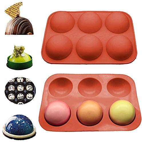 6 Holes Silicone Mold For Chocolate, Cake, Jelly, Pudding, Handmade Soap, Round Shape BPA Free Baking Mould (Red 1PC)