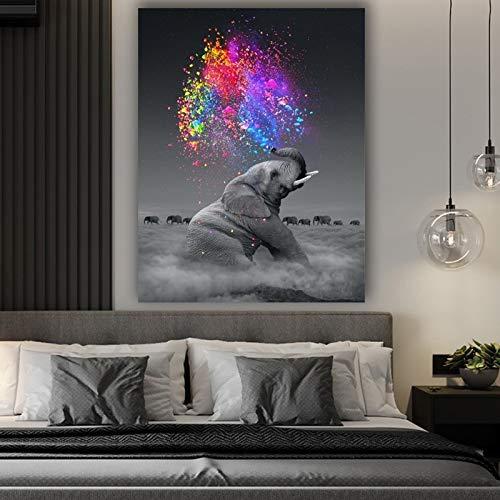 Carteles e impresiones de lienzo artístico de elefante animal, pintura de fantasía con luz de la vida, cuadro artístico de pared para la decoración del hogar de la sala de estar 40x50cm