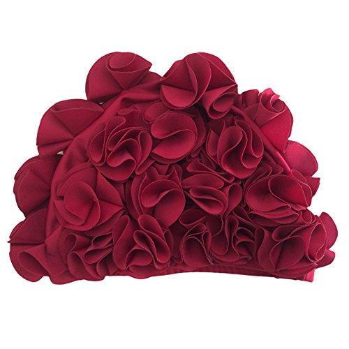 iKulilky Gorro de baño para Mujer, diseño de Flores, Estilo Retro, para el Cuidado del Cabello, Color Granate, tamaño tamaño único