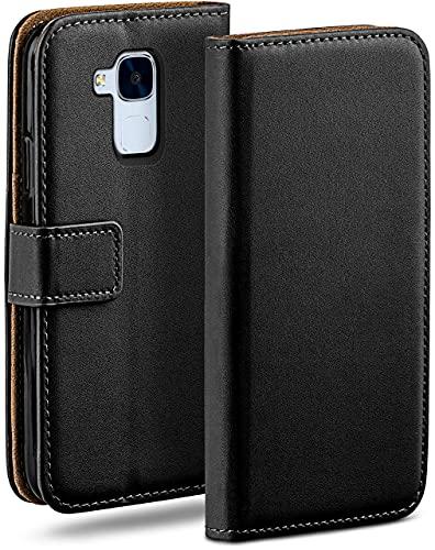 moex Klapphülle für Huawei Honor 5C Hülle klappbar, Handyhülle mit Kartenfach, 360 Grad Schutzhülle zum klappen, Flip Hülle Book Cover, Vegan Leder Handytasche, Schwarz