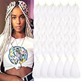 TENGSHUO FLY 6 Packs 24 Inch Braiding Hair Ombre Jumbo Braiding Hair for Women Extensions 24 Inch Kanekalon Heat Resistance Synthetic Hair for Braiding(6 Packs,White(60#))