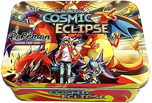 Sport zone Poke-mon Playing Cards Game Sun & Moon-Cosmic Eclipse with 2 Booster Packs and Cards for All Ages Metal Tin Box (Multi Design Box) (Best Cards for Play Time)