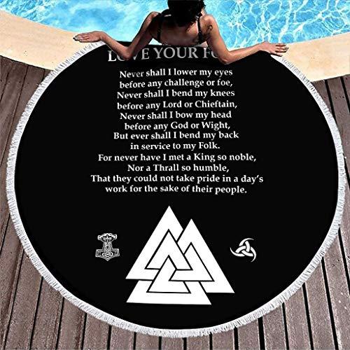 Viking Hammer Horn of Odin Love Your Folk Print Toalla de Playa Redonda súper Suave con borlas Bohemian Fringe Beach Wrap Blanco 59 pulgadas-Blanco-59 Pulgadas