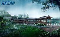 ERZAN 1000ピース木製パズル公園は雨が降ります日本の美しい自然風景