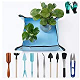 """Potting Mat 20x20"""" Square Garden Repotting Mat with Garden Tools Set & Garden Gloves for Indoor and Outdoor Use Keep Your Table Balcony Floor and Clothes Clean Small Size"""