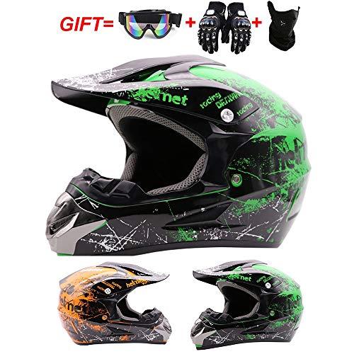 PANLIS Motorrad Crosshelm Brille (4 Stück) - Adult Motocross Helm Erwachsener Off Road Full-Face MTB Helm Mopedhelm Motorradhelm Für Damen Herren Sicherheit Schutz,Grün,M