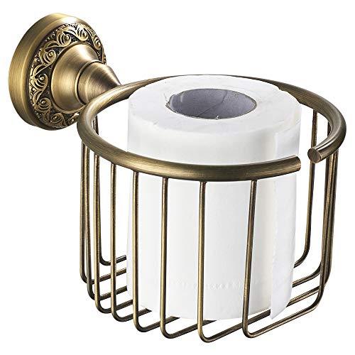 WOMAO Cestino di carta igienica in ottone, portarotolo in rotolo, organizer per servizi igienici Stile retrò anticato con decorazione a forma di intaglio a parete