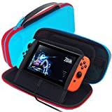 GOMDA Switch Carry Case Compatible - With 20 Games Cartridges and Support Bracket- Protective Hard Shell...