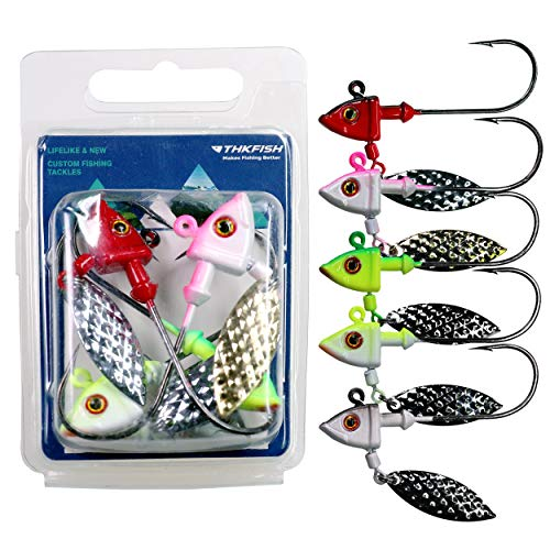 thkfish 10Pcs Ice Fishing Underspin Jig Head with Willow Blade Spoon Weighted Lead Head Spin Jig Hook Lure Kit for Panfish Crappie 7g(1/4oz)