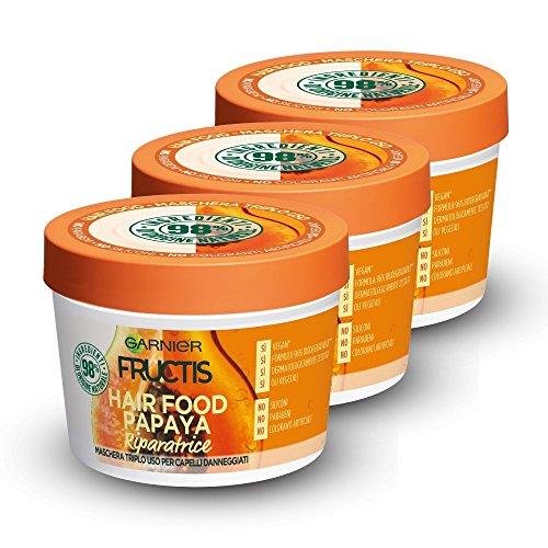 Garnier Fructis Hair Food Reparatur-Maske, 3-in-1-Reparaturmaske mit veganer Formel für geschädigtes Haar, Papaya 390 ml