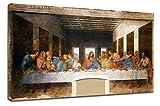 Cuadro La última cena Leonardo da Vinci - The last supper marco lienzo de impresión con o sin marco - elegir el tamaño que prefiera de-cm 50 a 130 cm de ancho (CUADRO CON MARCO DE MADERA, CM 50X30)