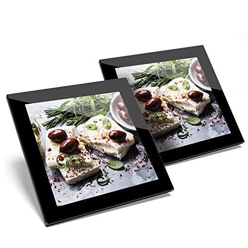 Fantastico set di 2 sottobicchieri in vetro – Feta formaggio con olive greco cibo lucido qualità sottobicchieri/tavolo protezione per qualsiasi tipo di tavolo #21527
