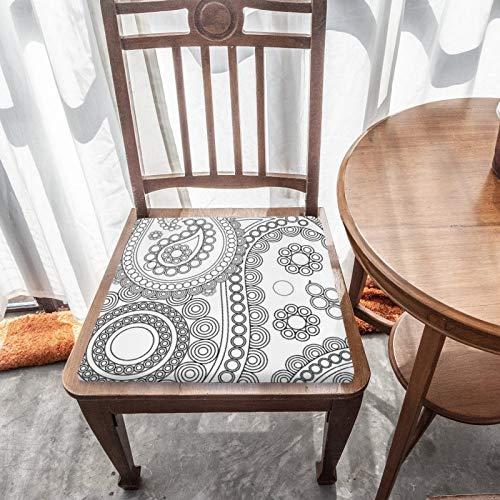 Sitzkissen aus Memory-Schaum, orientalisches persisches Paisleymuster mit Punkten, Schwarz / Weiß, hervorragender Komfort und Weichheit, waschbar, für Autositz/Bürostuhl/Esszimmerstühle