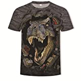 Camisa de compresión para Hombre 3D Dinosaurio Transpirable y de Secado rápido...