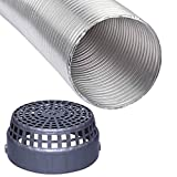 Polymers 6 Inch Flexible Aluminium Duct Pipe Chimney Exhaust Pipe with Cowl Cover (Upto 6 feet Extended) Silver
