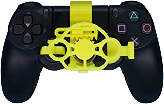 PS4 Gaming Racing Wheel (Enhanced), 3D Printed Mini Steering Wheel add on for The Playstation 4 Controller (Yellow)