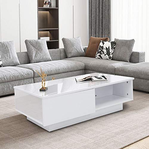 Weißer Couchtisch aus hochglänzendem Holz, Couchtisch mit Schubladen für Wohnzimmer, Büro, Zuhause, 95 x 60 x 31 cm