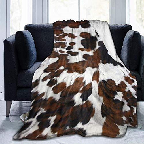 Pelle bovina marrone chiaro e struttura bianca Coperta in pile Coperta leggera Coperta super morbida e accogliente Coperta calda per soggiorno / camera da letto per tutte le stagioni 50x60 pollici