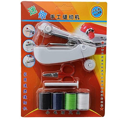Máquina de coser Venta caliente Mini Pandheld Kit Handy Máquina de coser portátil sin cable con yardas de costura Tijeras para coser costura DR (Color : 1 set)