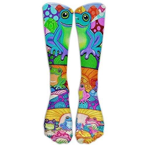 remmber me Calcetines hasta la rodilla de algodón con ranas de árbol Kawaii Softball Hombres y mujeres Calcetines largos hasta la rodilla de dibujos animados sobre la rodilla