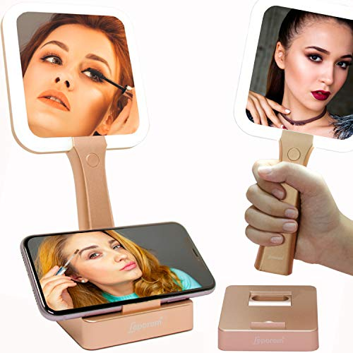 Makeup Mirror with Lights - 2 in 1 Rechargeable LED Lighted Double-Sided Vanity Mirrors with Kickstand, 1X & 5X Magnifying Handheld 3 Color Mirror, Dimmable Cosmetic Portable Tabletop Mirror, Bathroom