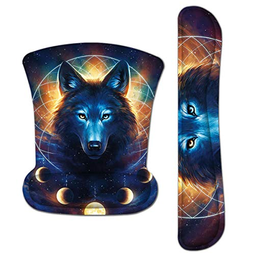 Keyboard Pad Wrist Rest Mouse Pad, ToLuLu Gel Ergonomic Mouse Pads Wrist Support for Computer Laptop, Mousepad Keyboard Wrist Support w/ Memory Foam for Easy Typing & Pain Relief, Desk Decor Cool Wolf