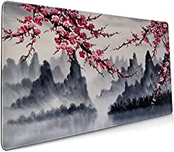 Japanese Sakura Watercolor Painting Extended Mouse Pad 35.4x15.7 Inch XXL Cherry Blossom Flower Non-Slip Rubber Base Large Mousepad Stitched Edges Keyboard Mouse Mat Desk Pad for Office Home Game