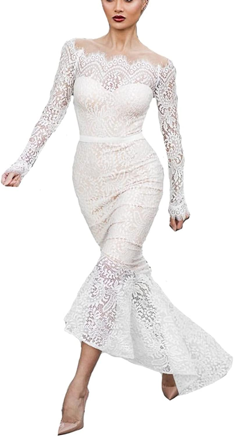 XPLE Mermaid Long Sleeves Boat Neck Off The Shoulder Sexy White Lace Women Evening Dress D51