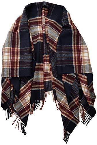 Marc O'Polo Damen 908814893013 Cape, Wool, Yarn dye, Check, Fringe, Mehrfarbig (Combo G98), One Size (Herstellergröße: OSO)