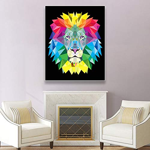 LPaWD Colorful Animal Lion Stampe su Tela Pittura murale Wall Art Poster Decorazioni per la casa Soggiorno Decorazioni per la casa A4 70X100cm