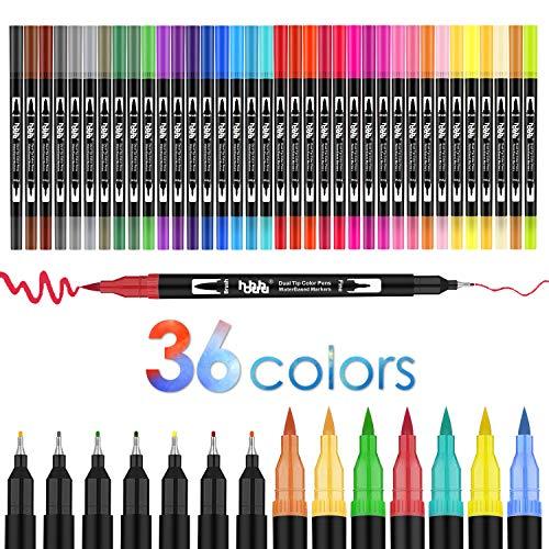 36 colores doble Rotuladores Punta Pincel,juego de rotuladores de acuarela para adultos y niños, libros de colorear diarios, caligrafía, letras a mano, nota T HO-36B