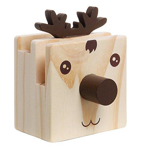 SODIAL Humorvoll Rentier Design Holz Desktop Bleistift Tasse Organizer / Neuheit Brillenhalter / Handy Staender