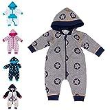 Baby Sweets Baby Overall Jumpsuit mit Kapuze für Jungen im Stern-Motiv/Babystrampler als Overall für Baby, 62, Grau - Stars