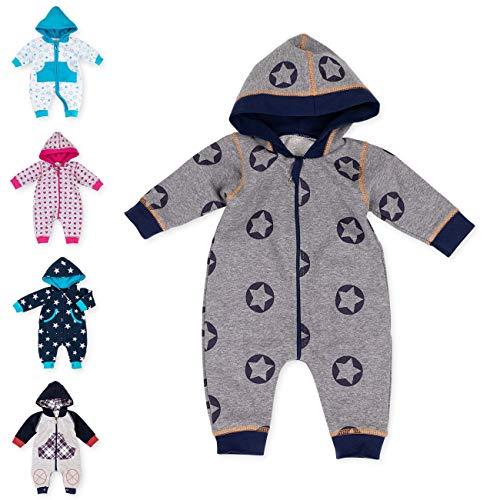 Baby Sweets Baby Overall Jumpsuit mit Kapuze für Jungen in Grau Dunkelblau im Stern-Motiv/Babystrampler als Overall für Baby und Kleinkind für Outdoor und Indoor in Größe: 1 Monate (56)