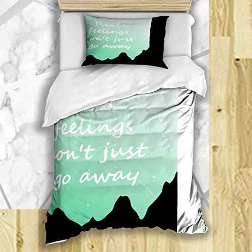 FUEWU Bedding Duvet Cover Sets Twin 68x86 Inches Green Cloth Always Cool Awesome Slogan Graphics Design Various Best Calm Carry Stay College Day Soft Microfiber Bedroom with 1 Pillow Shams