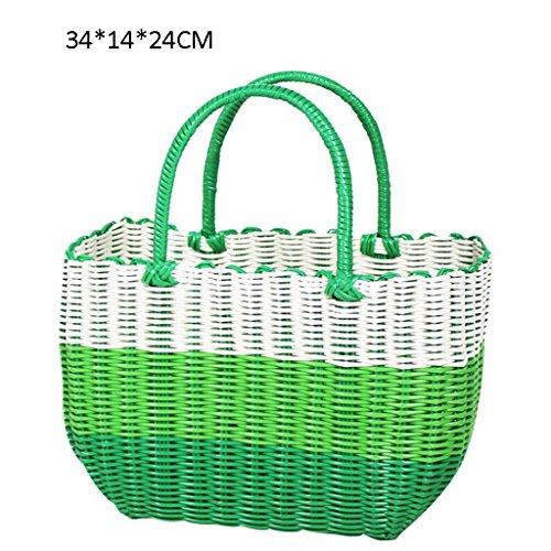 Xuan - Worth Having Vert et Blanc Fabrication Artisanale de Tissage en Plastique Panier à Main Bain Le Panier Panier Panier de Pique-Nique Anti-Corrosion (Taille : 34 * 14 * 24cm)