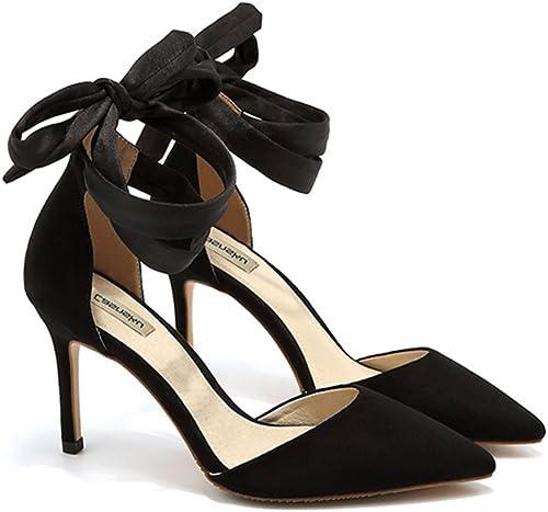 Chaussures 8cm, 10cm Noir Europe et Les Sandales de Femmes des états-Unis, été Croix-Cravate pointé à Talons Hauts, Bouche Peu Profonde Sexy AHommesde avec (Couleur   noir8cm, Taille   41)