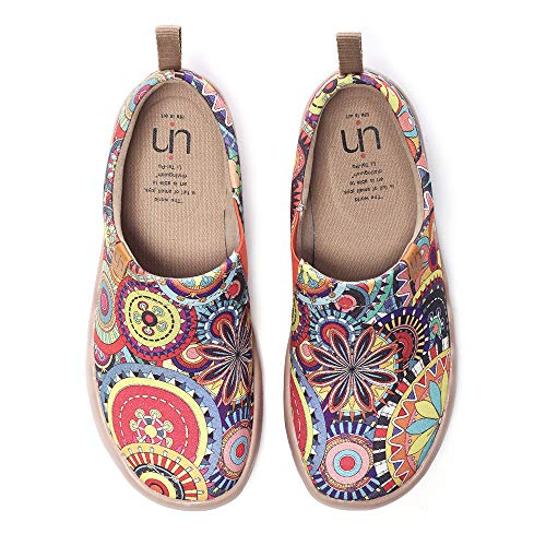 UIN Women's Blossom Painted Fashion Sneaker Canvas Slip-On Travel Shoes (4.5)